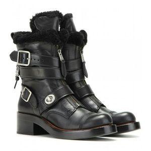 COACH Zip Moto Genuine Shearling Boots Black 6.5